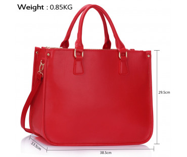 Kabelka 3 top Zip Red Tote Handbag