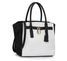 Kabelka Black/ White Padlock Tote With Long Strap