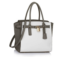 Kabelka Grey / White Padlock Tote With Long Strap