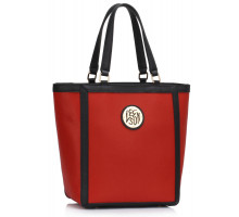 Kabelka Red Fashion Tote With Metal Accessories