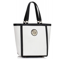 Kabelka White Fashion Tote With Metal Accessories