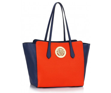 Kabelka Blue / Orange Shoulder Bag With Metal Detail