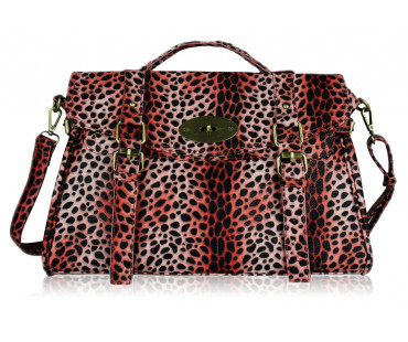 Aktovka Coral Animal Print Buckle Detail Fashion Tote Bag
