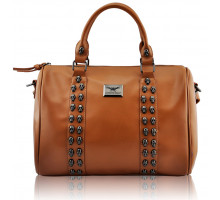 Kabelka Tan Stunning  Skull Studded Barrel Bag With Long Strap
