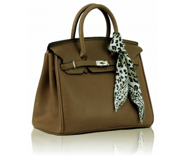 Kabelka- Luxury Nude Tote Bag With Scarf
