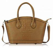 Kabelka Tan Fashion Mock Croc Satchel With Long Strap