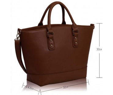 Kabelka Brown Fashion Tote With Long Strap - hnědá