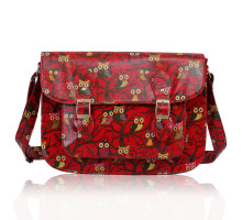 Aktovka  Red Oilcloth Owl Design Satchel