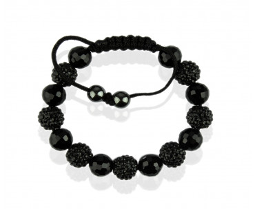 Náramek Black Shamballa Bracelet Crystal-Disco Ball Friendship Bead
