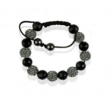 Náramek Grey Shamballa Bracelet Crystal-Disco Ball Friendship Bead