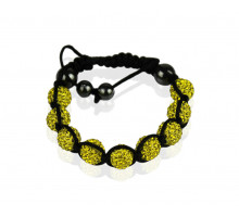 Náramek Yellow Shamballa Bracelet Crystal-Disco Ball Friendship Bead