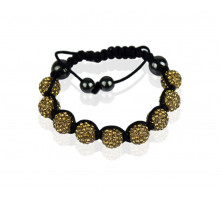 Náramek Coffee Shamballa Bracelet Crystal-Disco Ball Friendship Bead