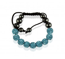 Náramek Teal Shamballa Bracelet Crystal-Disco Ball Friendship Bead