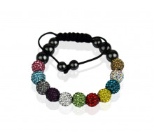 Náramek Multi Coloured Shamballa Bracelet Crystal-Disco Ball Friendship Bead