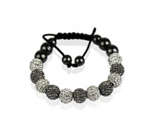 Náramek White/Grey Shamballa Bracelet Crystal-Disco Ball