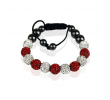 Náramek White/Red Shamballa Bracelet Crystal-Disco Ball Friendship Bead