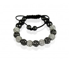 Náramek White/Black Shamballa Bracelet Crystal-Disco Ball