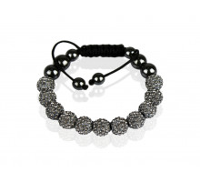 Náramek Grey Shamballa Bracelet Crystal-Disco Ball