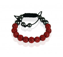 Náramek Red Shamballa Bracelet Crystal-Disco Ball Friendship Bead