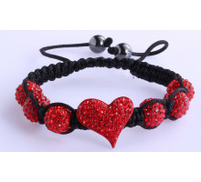 Náramek Red Crystal Heart Shaped Bracelet