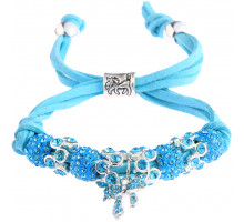 Náramek Teal Crystal Bracelet With Butterfly Charm