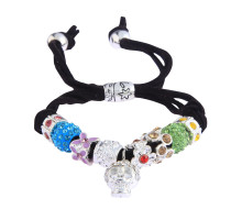 Náramek Multi Colour Crystal Bracelet With Skull Charm