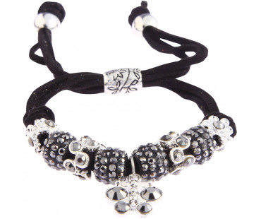 Náramek Black Crystal Bracelet With Dragonfly Charm