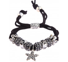 Náramek Black Crystal Bracelet With Star Charm