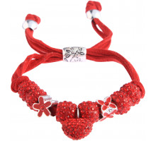 Náramek Red Crystal Bracelet With Heart Charm