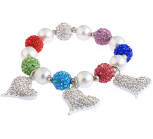 Náramek Multi Colour Crystal Bracelet With Heart Charms