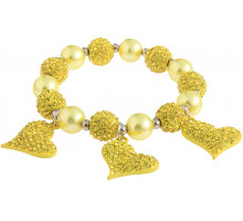 Náramek Lemonade Yellow Crystal Bracelet With Heart Charms