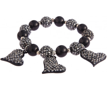Náramek Black Crystal Bracelet With Heart Charms