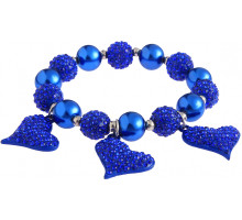 Náramek Blue Crystal Bracelet With Heart Charms
