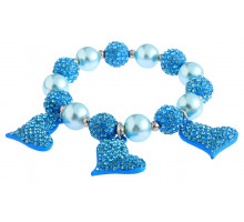 Náramek Teal Crystal Bracelet With Heart Charms