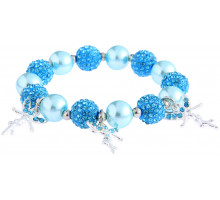 Náramek Teal Crystal Bracelet With Fairy Charms