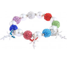 Náramek Multi Colour Crystal Bracelet With Fairy Charms
