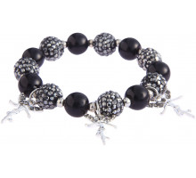 Náramek Black Crystal Bracelet With Fairy Charms
