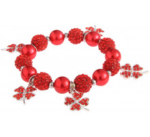 Náramek Red Crystal Bracelet With Butterfly Charms