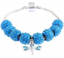 Náramek Teal Crystal Bracelet With Dragonfly Charm