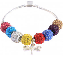 Náramek Multi Colour Crystal Bracelet With Dragonfly Charm