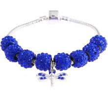 Náramek Blue Crystal Bracelet With Dragonfly Charm