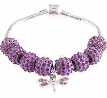 Náramek Purple Crystal Bracelet With Dragonfly Charm