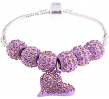 Náramek Purple Crystal Bracelet With Heart Charm