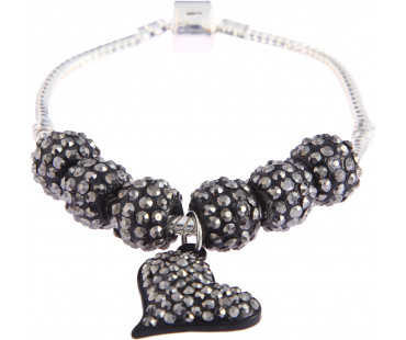 Náramek Black Crystal Bracelet With Heart Charm