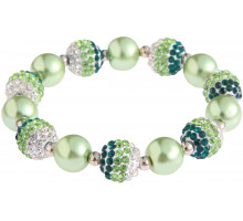 Náramek Green Shamballa Bracelet Crystal-Disco Ball Friendship Bead