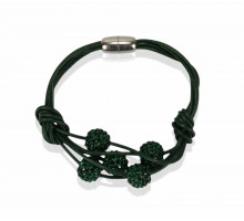 Náramek Dark Green Crystal Bracelet With Pearl Charm