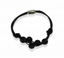Náramek Black Crystal Bracelet With Pearl Charm