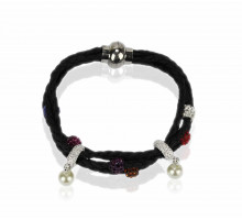 Náramek Multi Colour Crystal Bracelet With Pearl Charm
