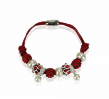 Náramek Red Crystal Bracelet With Pearl Charm
