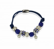 Náramek Blue Crystal Bracelet With Pearl Charm